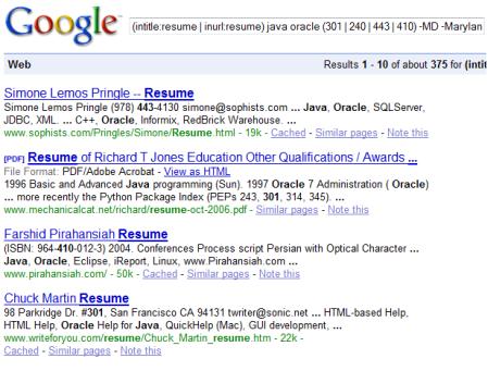 Resumes on the Internet: Monster vs. Google Round 2   Boolean Black ...