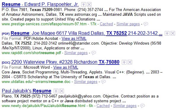 how to find resumes on the internet with google