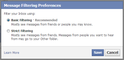 Facebook inbox messages filter options