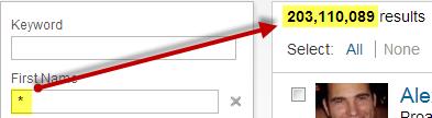 LinkedIn 200 Million search results