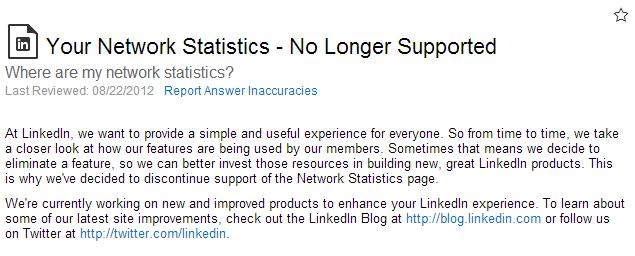 LinkedIn Network Statistics No Longer Supported