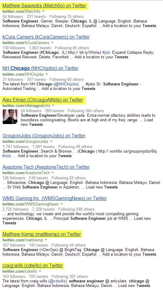 Twitter Bing X-Ray Search software engineers Chicago 1