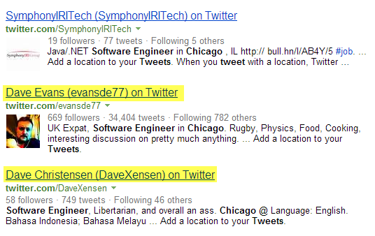 Twitter Bing X-Ray Search software engineers Chicago 2