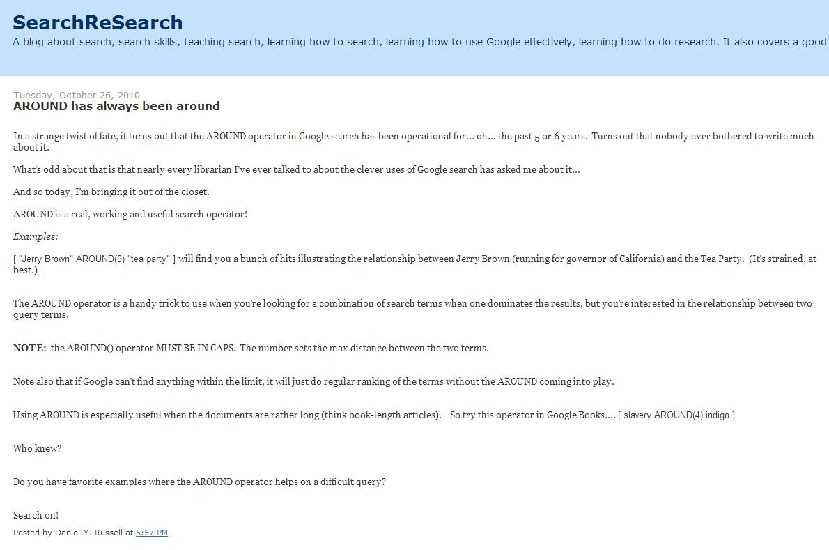 Google Around Proximity Operator