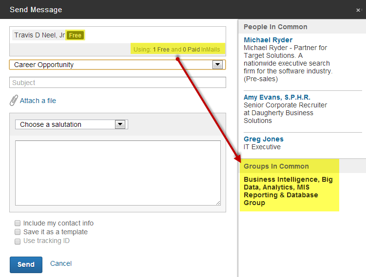 how to make a template in linkedin messafes