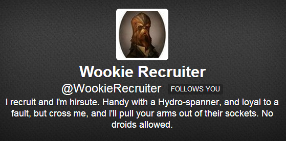 Wookie Recruiter Twitter Bio