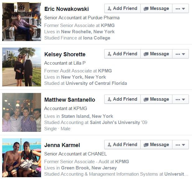 Facebook Graph Search Former KPMG Accountant Near New York