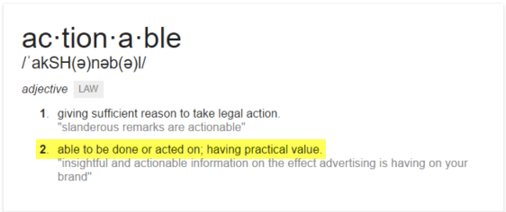 Definition of Actionable