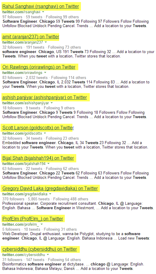 Twitter Bing X-Ray Search software engineers Chicago 3