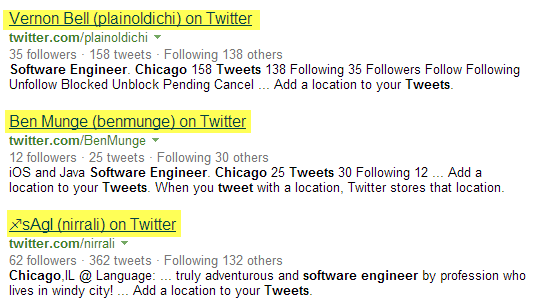 Twitter Bing X-Ray Search software engineers Chicago 4