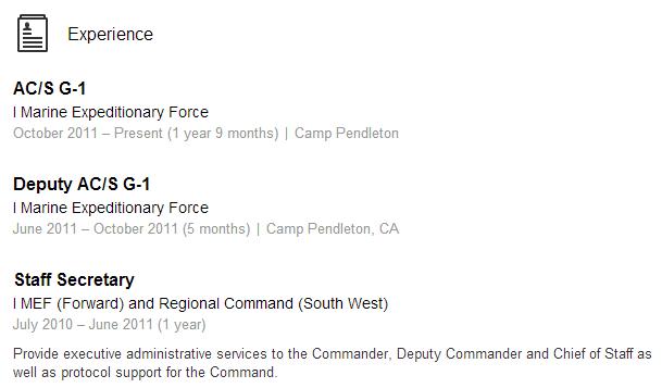 Veteran Sourcing LinkedIn Example 1 MEF Marine Marines