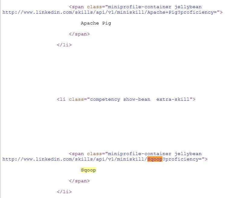 Google LinkedIn Cached Result Sqoop Page Source Code