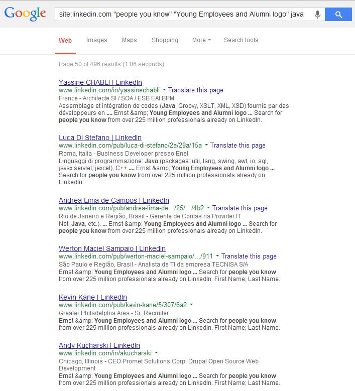 Google X-Ray LinkedIn Group