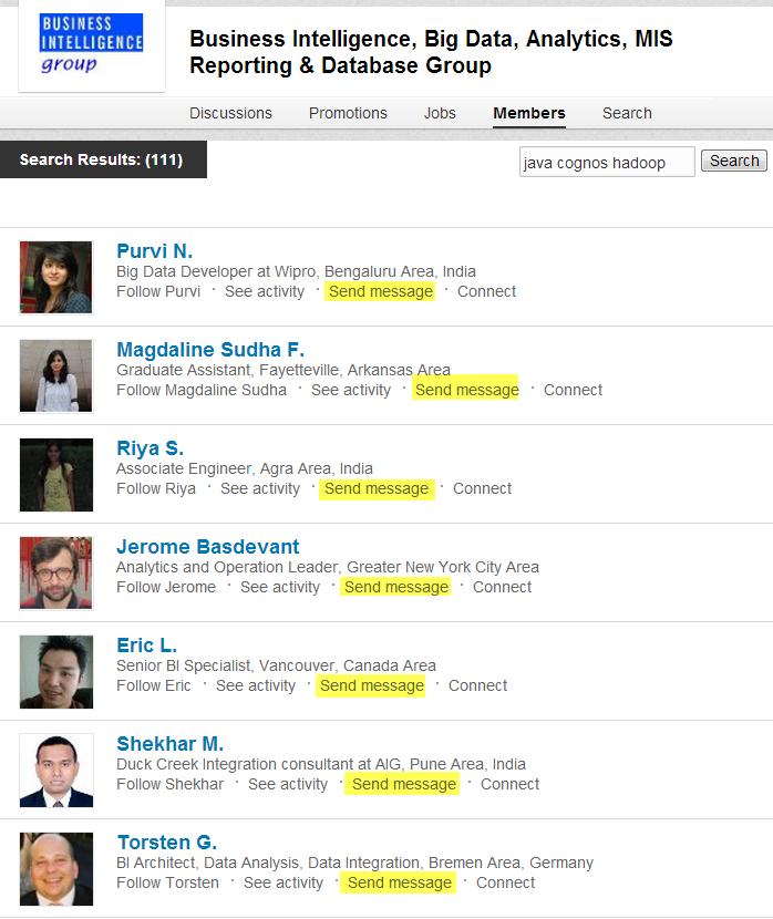 LinkedIn Group Messaging Example