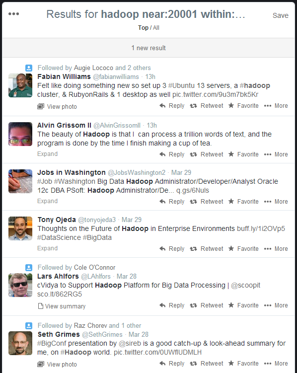 Twitter search for Hadoop in the Washington DC Metro Area
