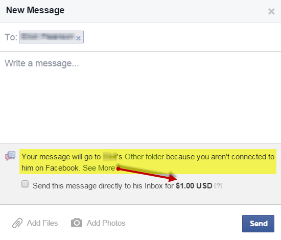 Facebook Message 1 Dollar